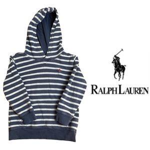 Boys Polo Blue Stripped Hooded Sweatshirt Size 6
